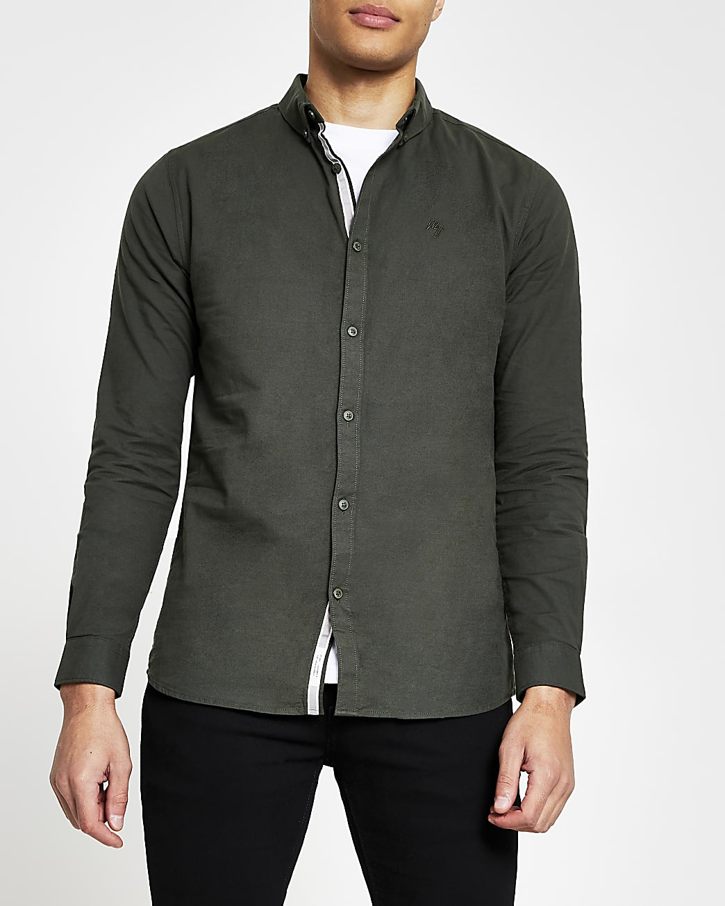 Khaki muscle fit long sleeve oxford shirt