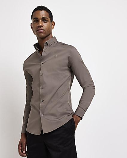 Khaki muscle fit long sleeve shirt