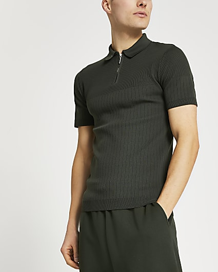 Khaki muscle fit short sleeve polo shirt