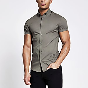 Kaki aansluitend overhemd met korte mouwen