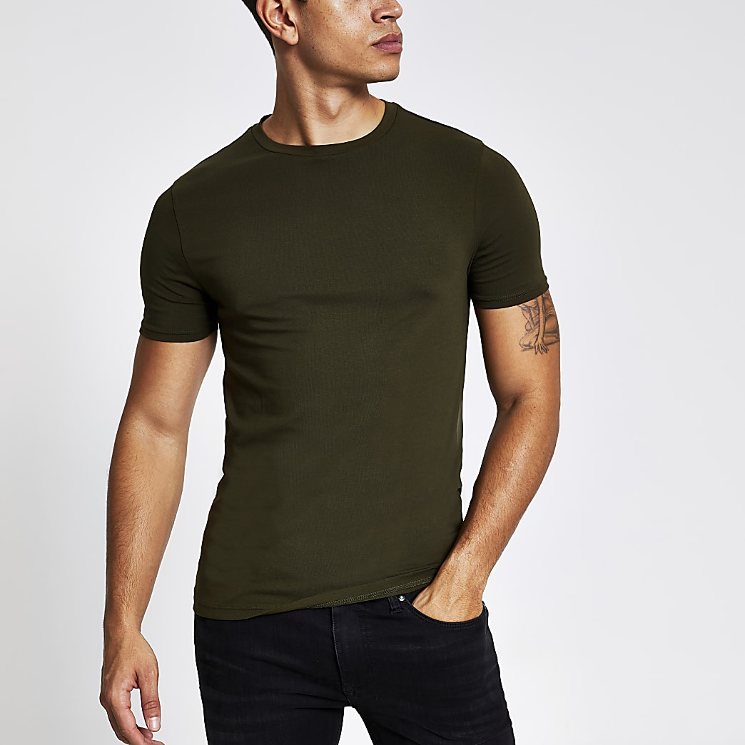 Khaki muscle fit short sleeve T-shirt