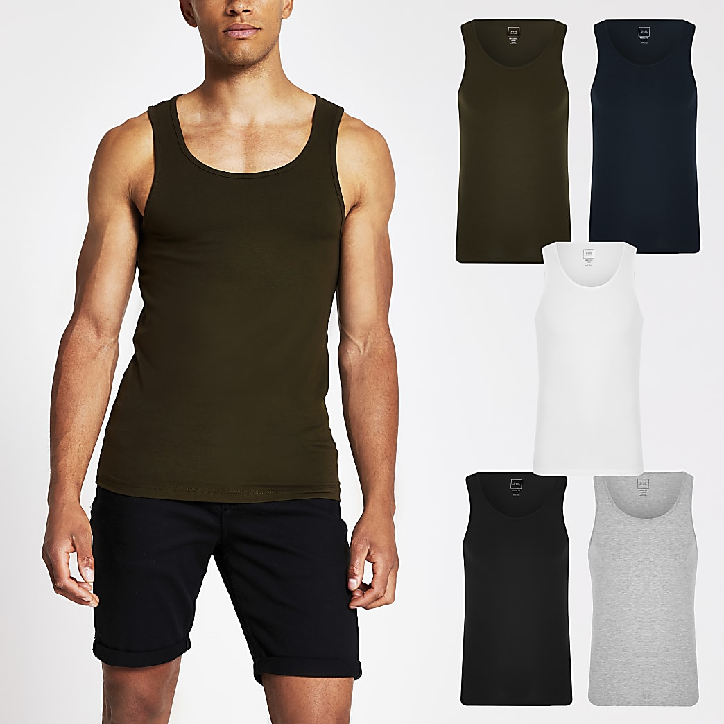 Khaki muscle fit vest 5 Pack
