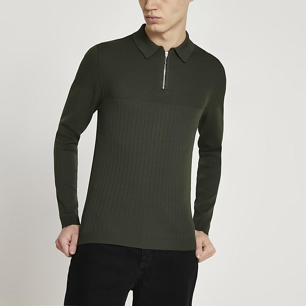 Khaki muscle knitted long sleeve polo shirt