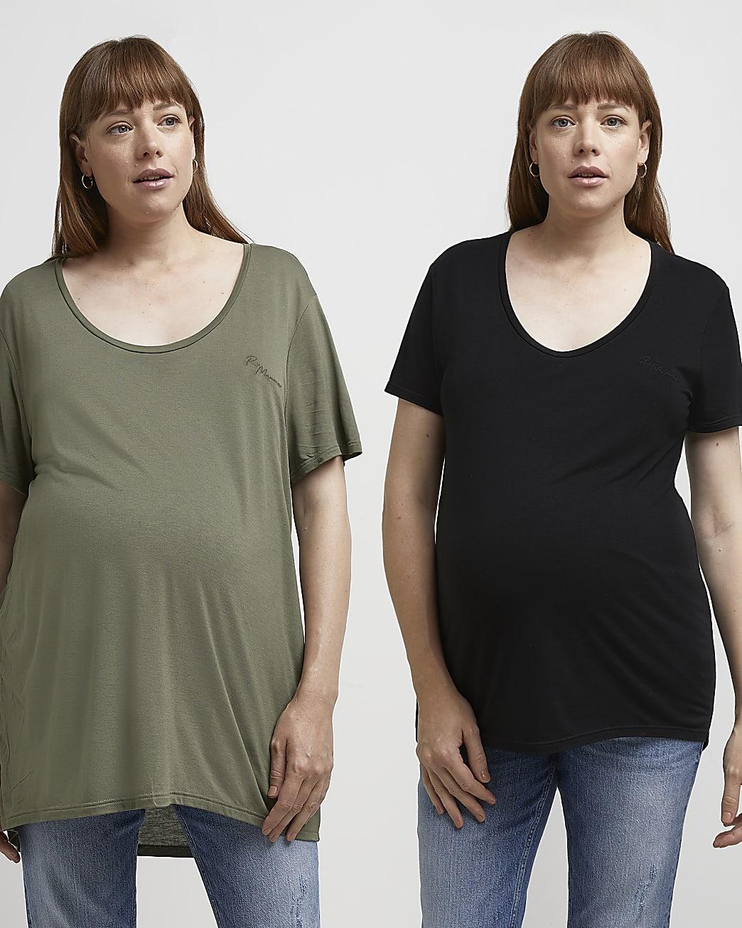 Khaki nursing maternity t-shirt multipack