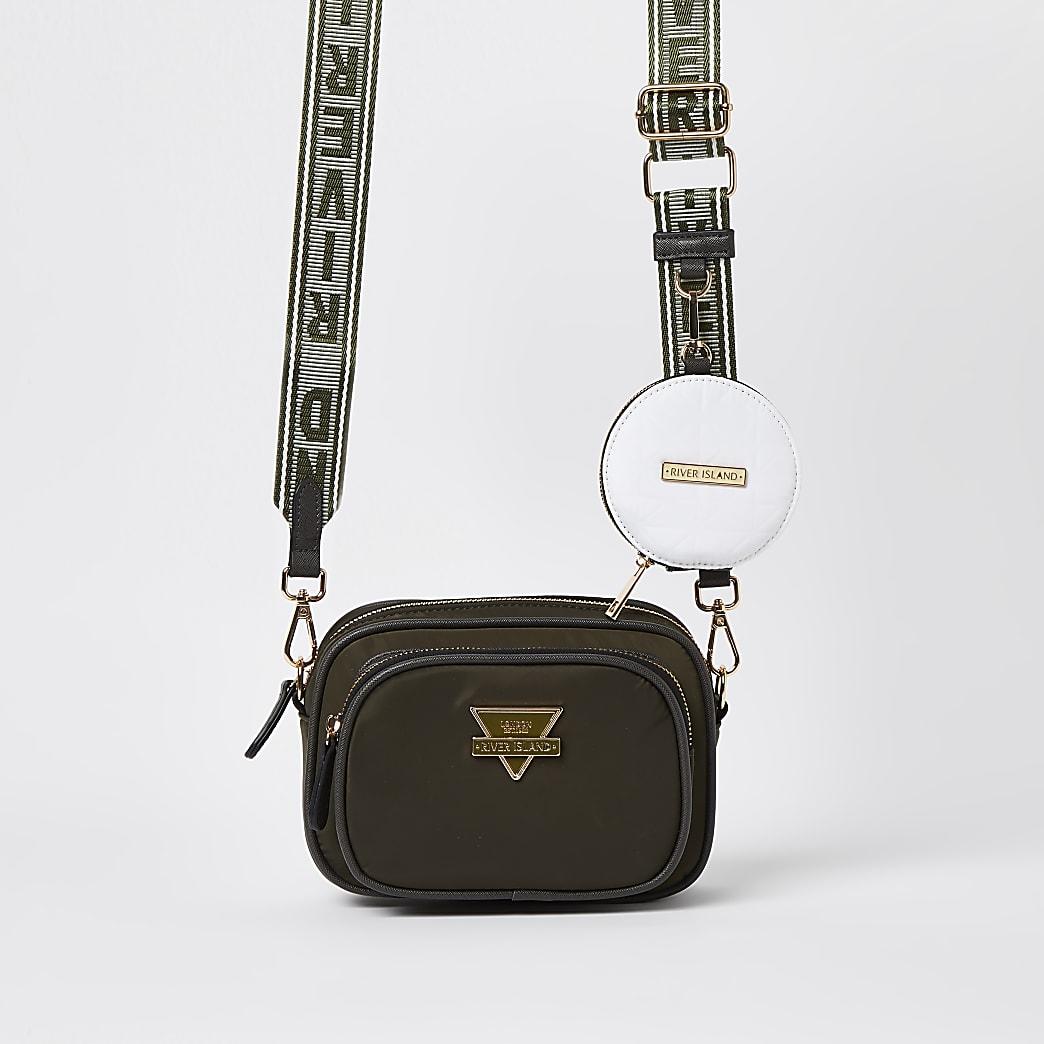 Khaki nylon camera bag with pouch