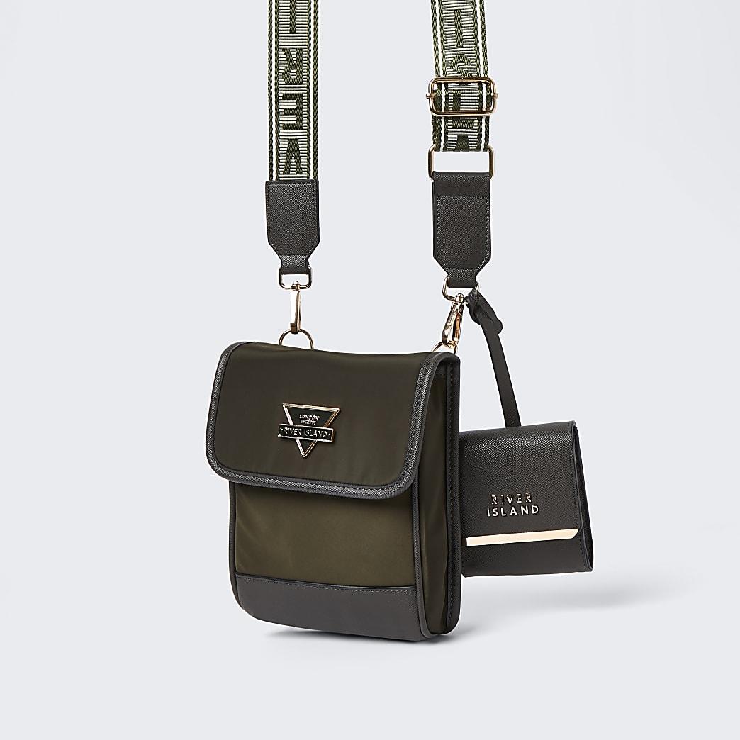 Khaki nylon pouch bag