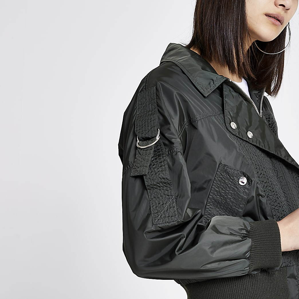 Khaki nylon stitched bomber jacket