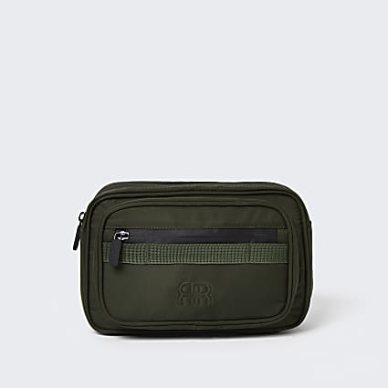 Khaki nylon structured bum bag