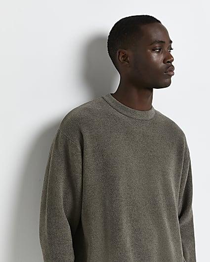 Khaki oversized fit towelling jumper