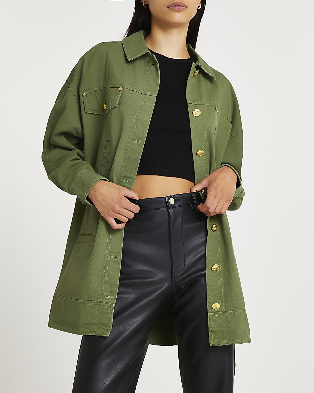 Khaki oversized shacket