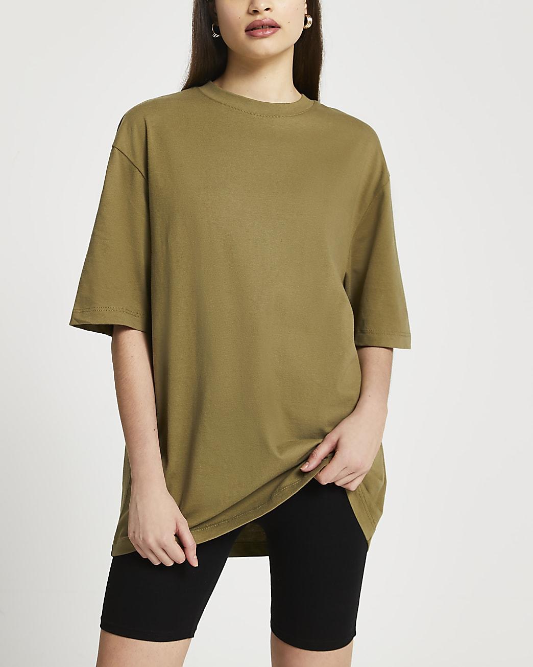 Khaki oversized short sleeve t-shirt