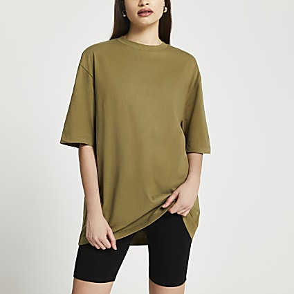 Khaki oversized short sleeve t-shirt
