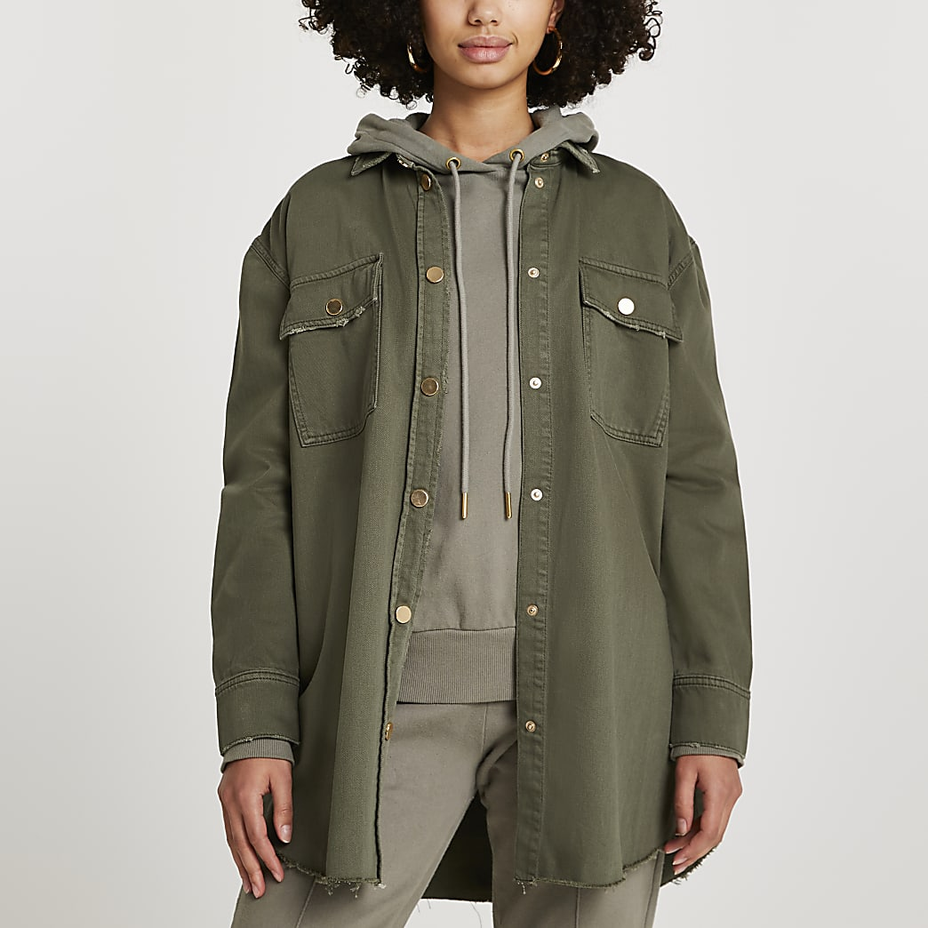 Khaki oversized utility denim shacket