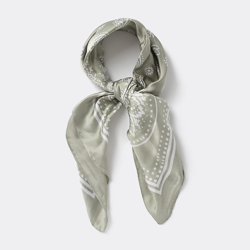 Khaki paisley print bandana