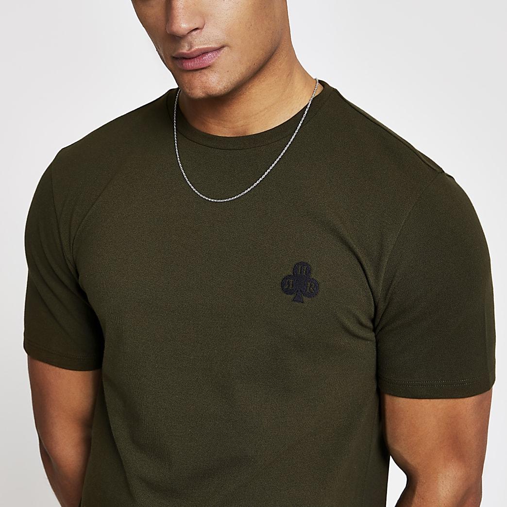 Kaki slim-fit piqué T-shirt