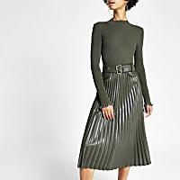 Khaki pleated faux leather midi skirt