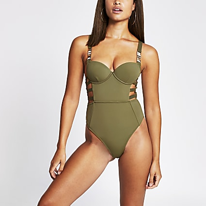 Khaki plunge strappy cut out swimsuit