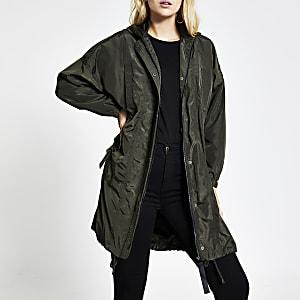Khaki pocket front longline anorak jacket