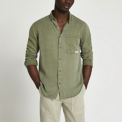 Khaki pocket long sleeve shirt