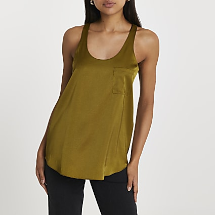 Khaki pocket vest top