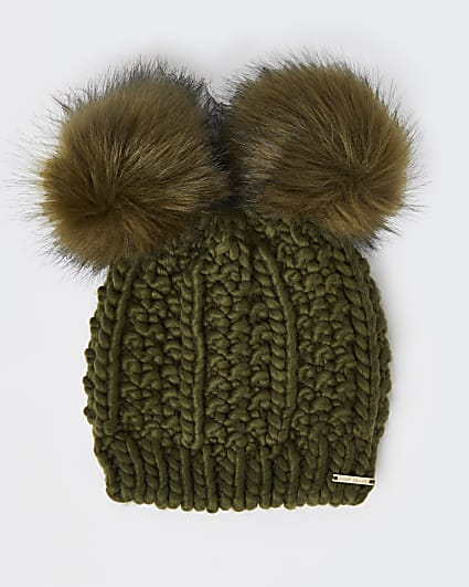 Khaki pom pom cable knitted beanie hat
