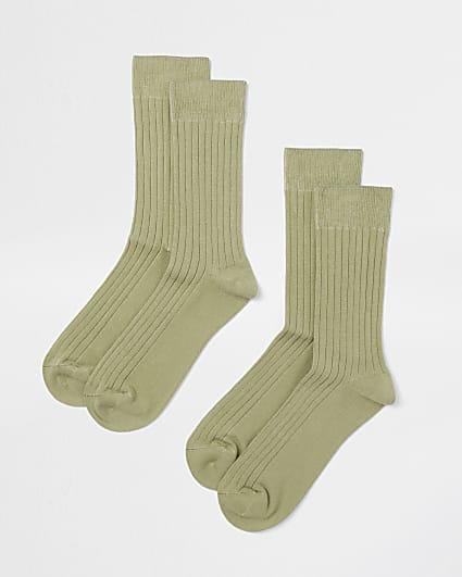 Khaki premium ribbed socks 2 pack