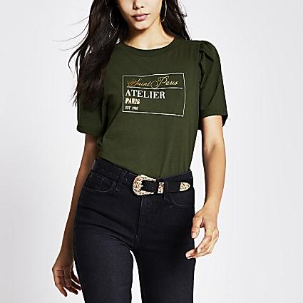 Khaki print short pleat sleeve t-shirt