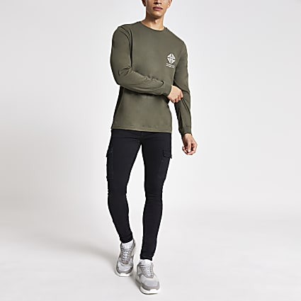 Khaki printed long sleeve slim fit T-shirt