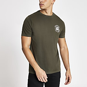 Khaki printed short sleeve slim fit T-shirt