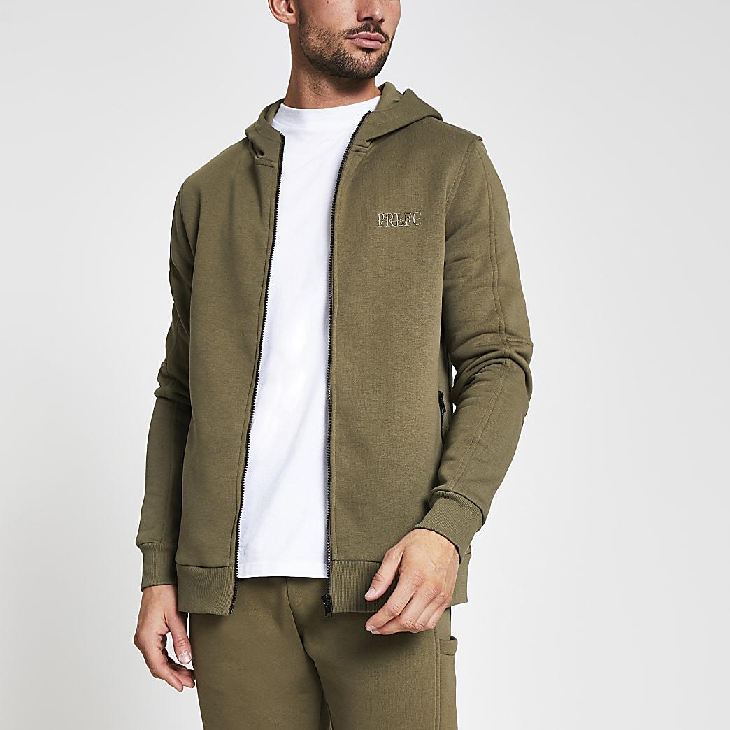 Khaki Prolific slim zip hoodie