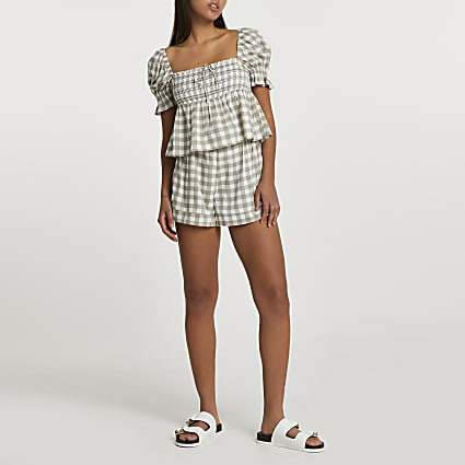 Khaki puff sleeve gingham crop top