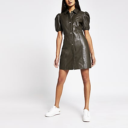 Khaki puff sleeve leather shirt dress