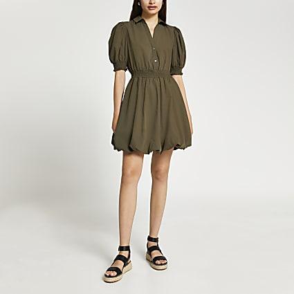 Khaki puff sleeve mini shirt dress