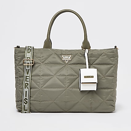 Khaki quilted soft tote bag