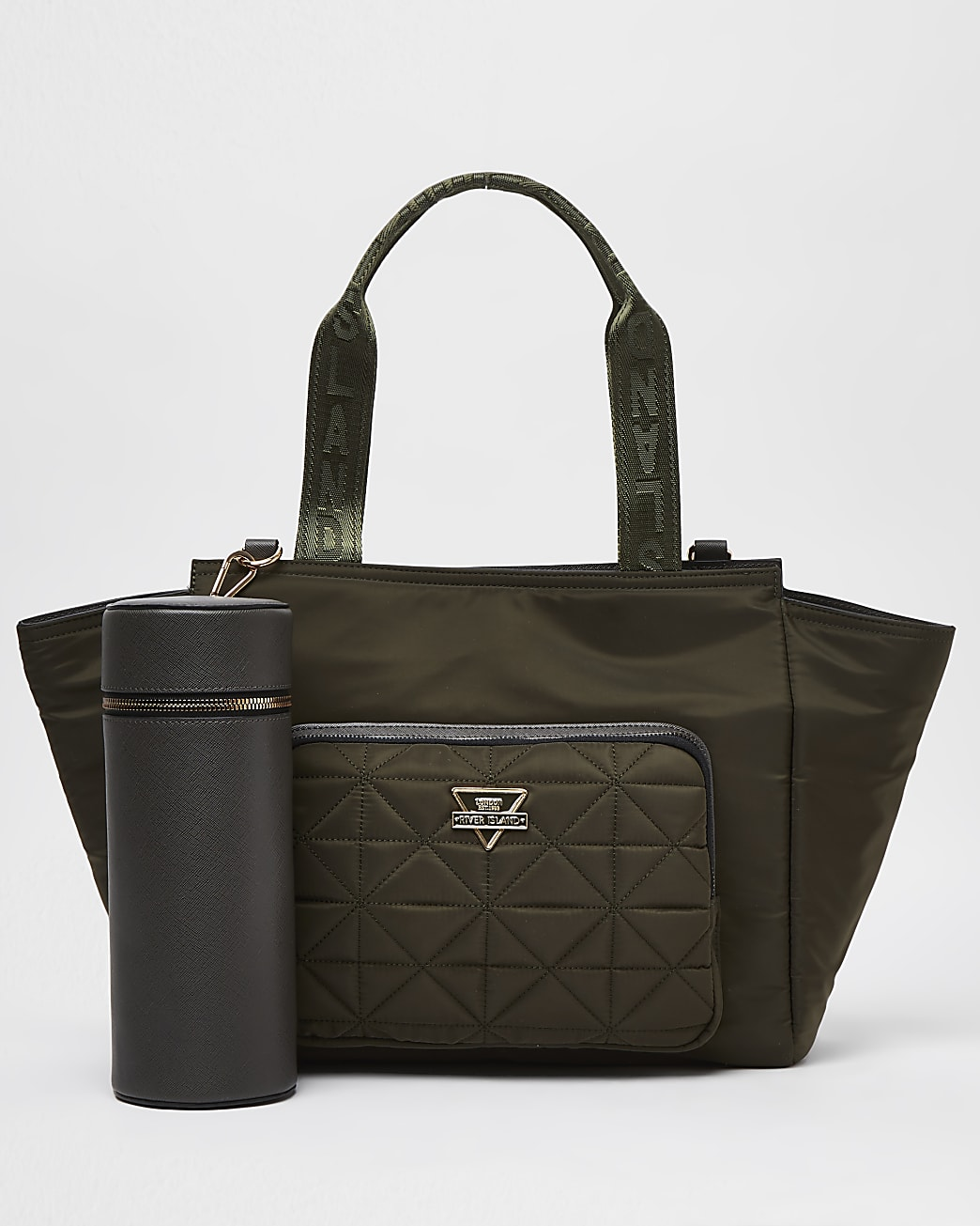 Khaki quilted tote bag and bottle carrier