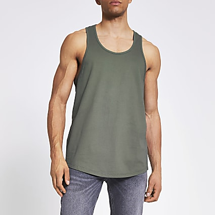 Khaki racer back vest top