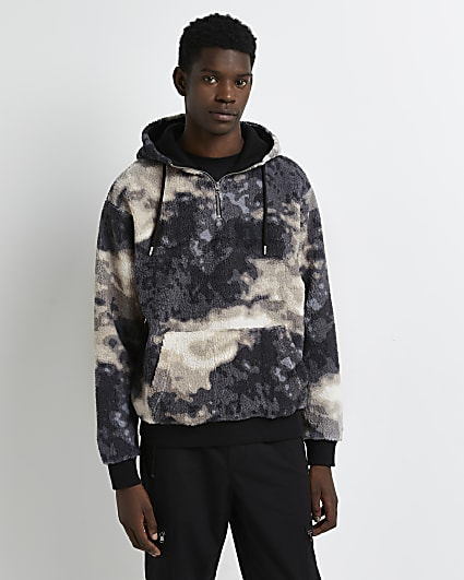 Khaki regular camo print borg hoodie