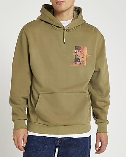 Khaki regular fit graphic hoodie