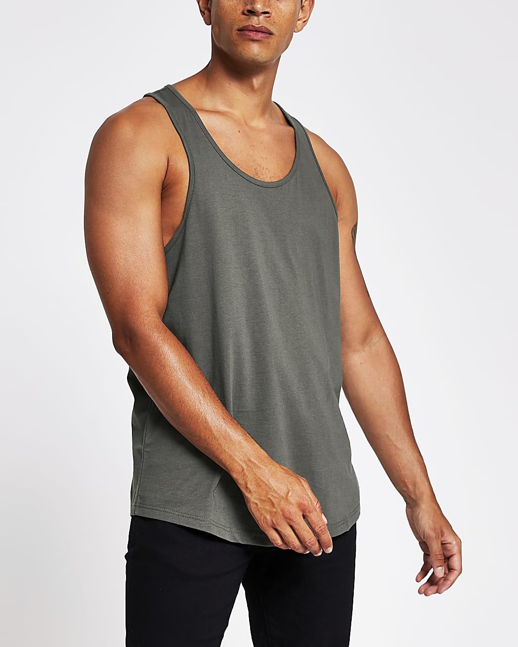 Khaki regular fit racer back vest