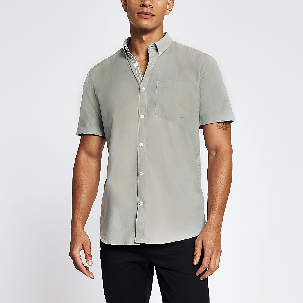 Khaki regular fit short sleeve oxford shirt