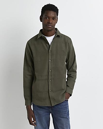 Khaki regular fit twill long sleeve shirt
