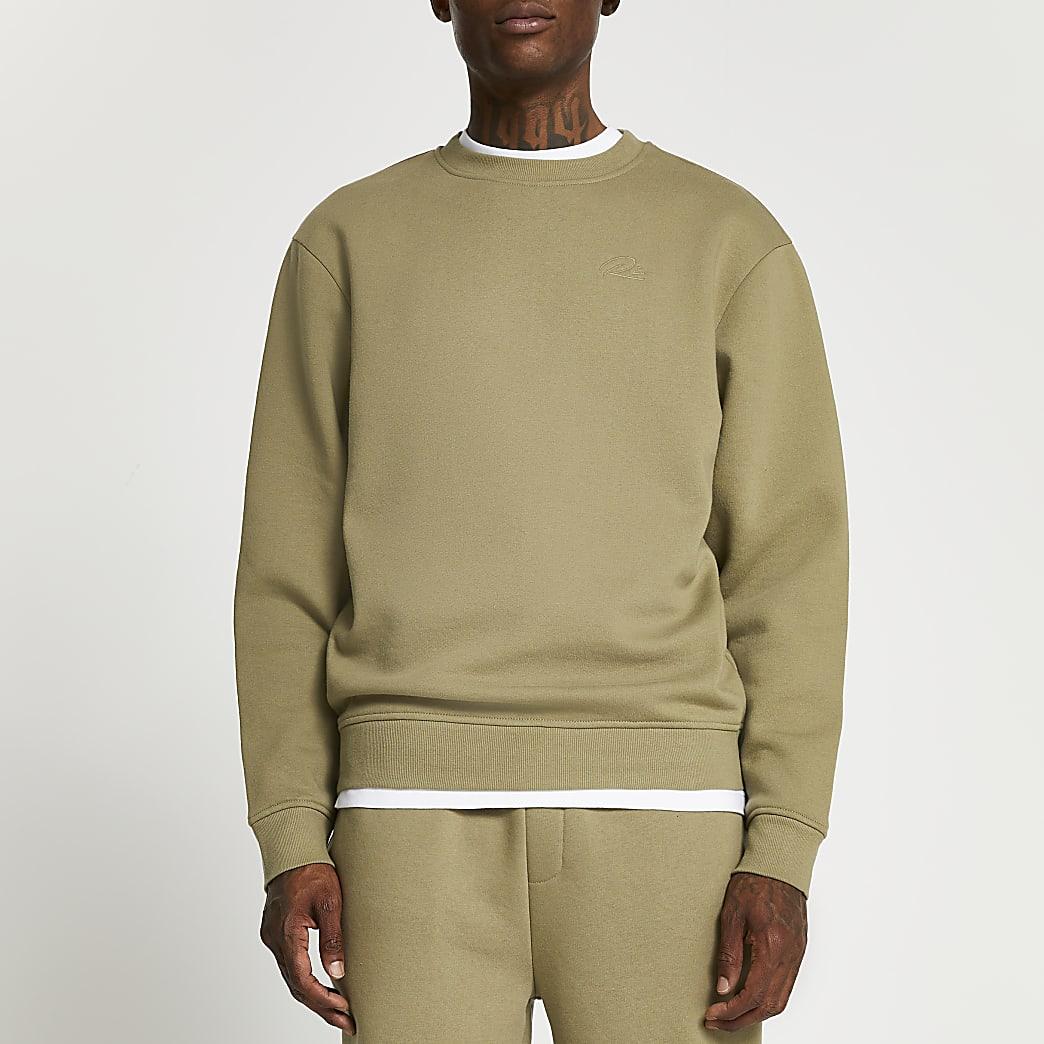 Khaki RI branded crew neck sweatshirt