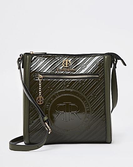Khaki RI branded embossed messenger bag