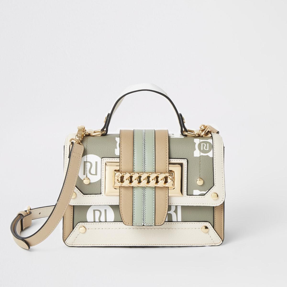 Khaki RI chain front cross body satchel bag
