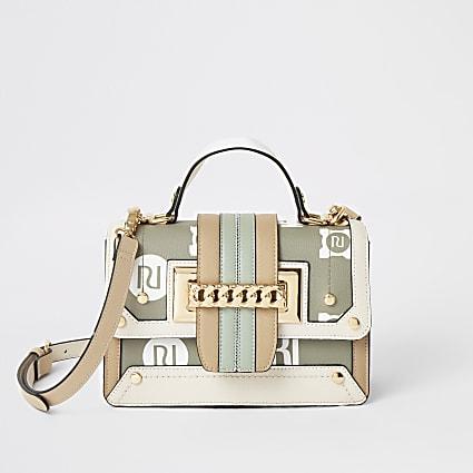 Khaki RI chain front x-body satchel handbag