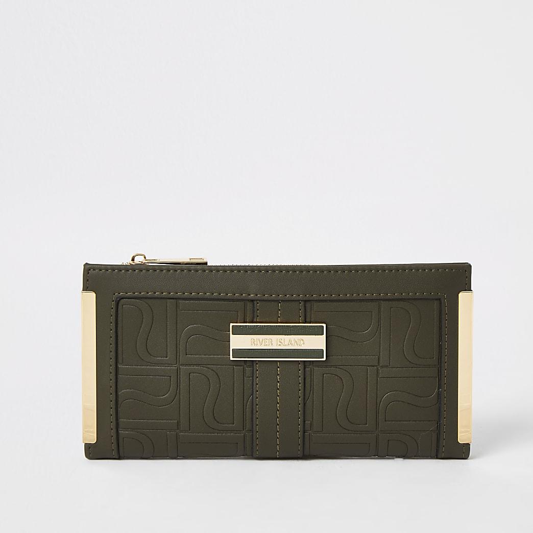 Kaki uitvouwbare portemonnee met reliëf en RI-logo