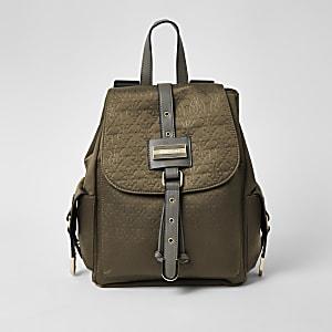 Khaki RI embossed lock front backpack