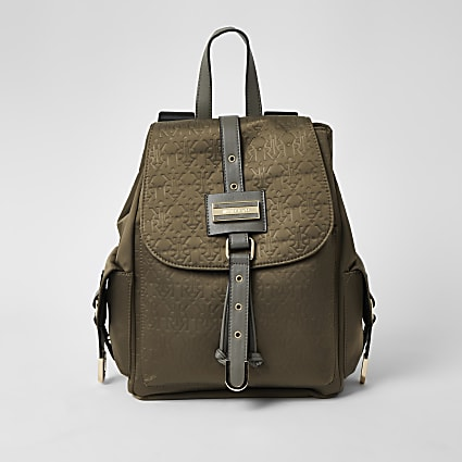 Khaki RI embossed lock front backpack