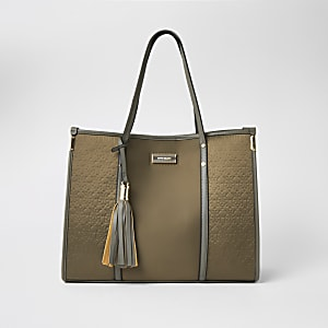 Khaki RI embossed nylon shopper tote bag