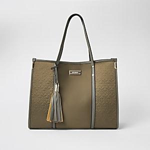Tote Bag aus Nylon in Khaki mit RI-Prägung
